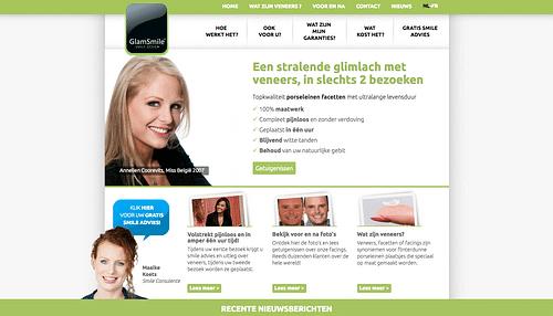 Lead Generation website Glamsmile - Website Creatie