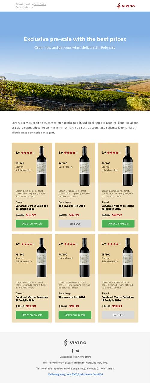 Wine pre-sale - E-mailing
