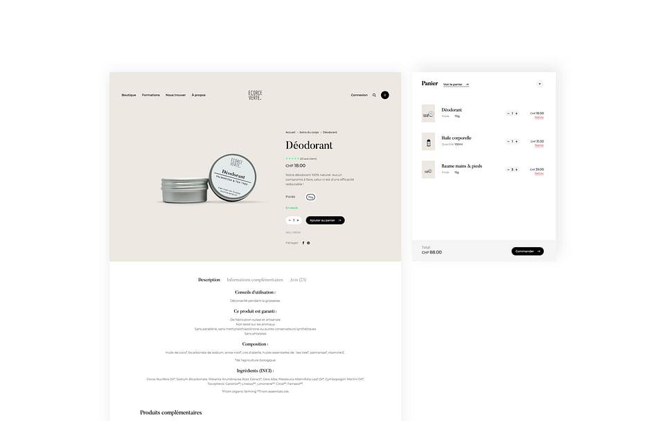 eCommerce Website for Ecorce Verte