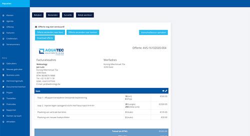 Aquatec web application - Web Applicatie