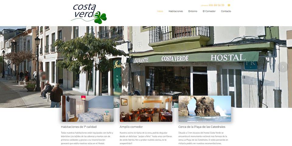 Página web Hostal Costa Verde