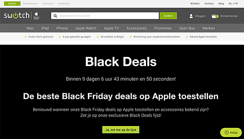 Black Friday marketing campagne voor Switch.be - Online Advertising