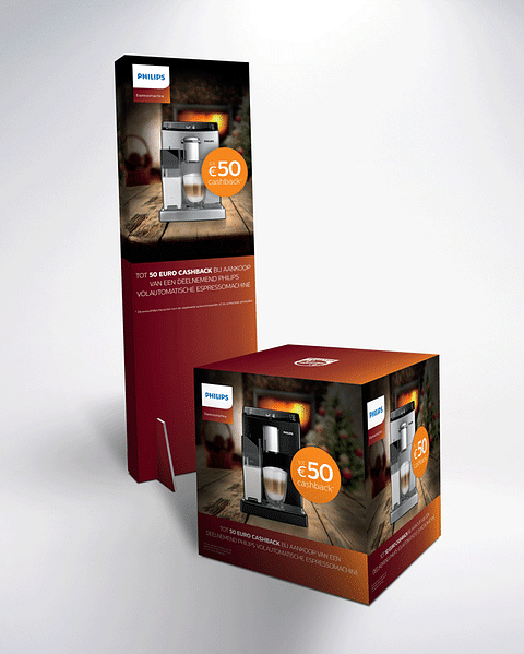 EOY Philips Espresso POS totem and cube