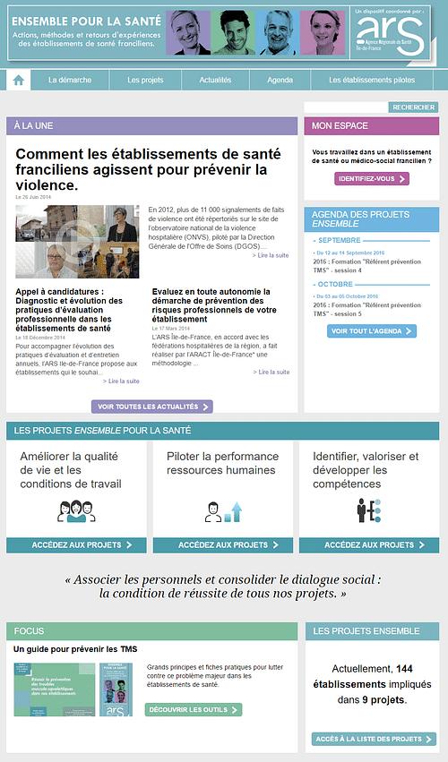 Accompagnement l'ARS Ile de France - Stratégie de contenu