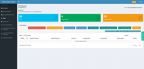Admin panel and app for school owners and teachers