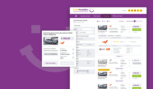 Leasevergelijker, onafhankelijke vergelijkingssite - Website Creatie