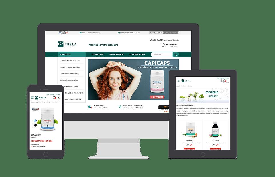 Boutique e-commerce et extranet Laboratoires Ybela
