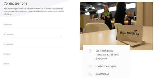 Webdesign & webmarketing: ecoheating.be - Website Creatie