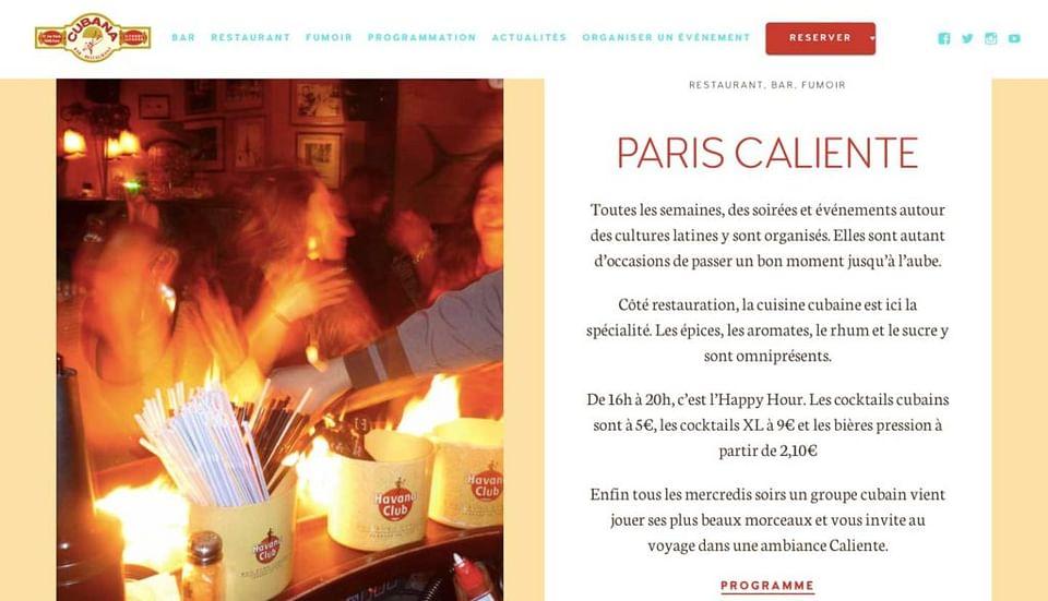 Création du site du bar restaurant Cubana Café