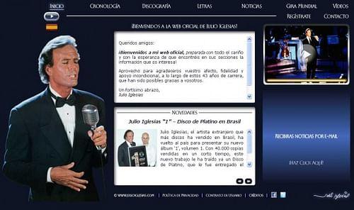 Sitio web oficial de Julio Iglesias - Creación de Sitios Web