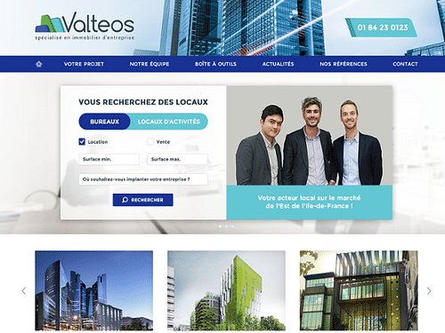 Refonte du site Valteos - Immobilier d'entreprise - Création de site internet