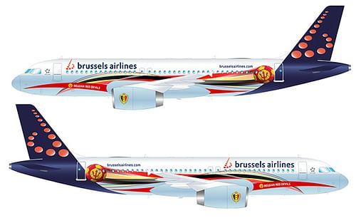 Habillage de l'avion officiel des Diables Rouges - Image de marque & branding