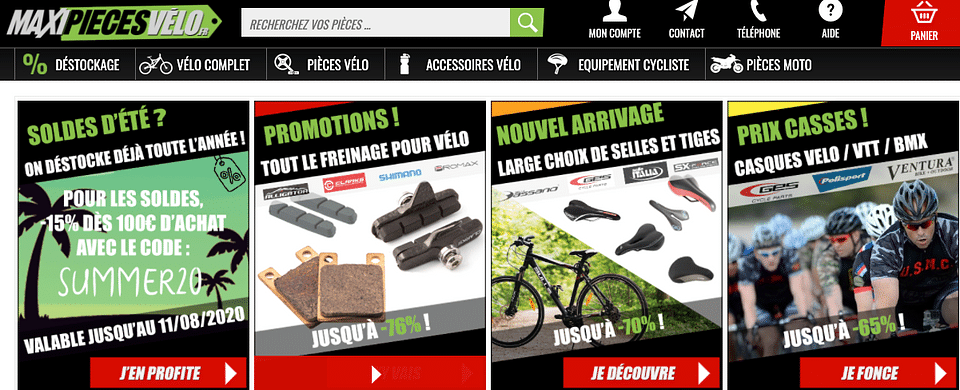 Ventes de pièces de vélo en ecommerce