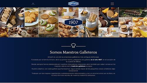 Website corporativo de galletas Artiach - Aplicación Web