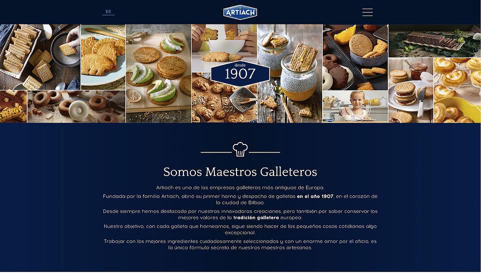 Website corporativo de galletas Artiach