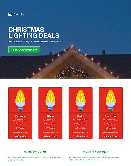 Landing Page for Christmas Lighting - Website Creation