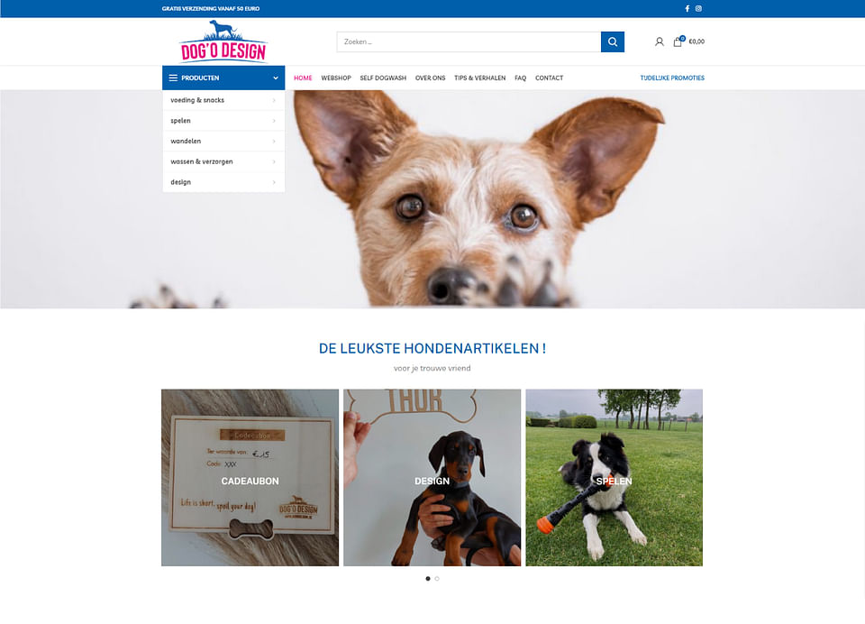 Webshop in hondenartikelen