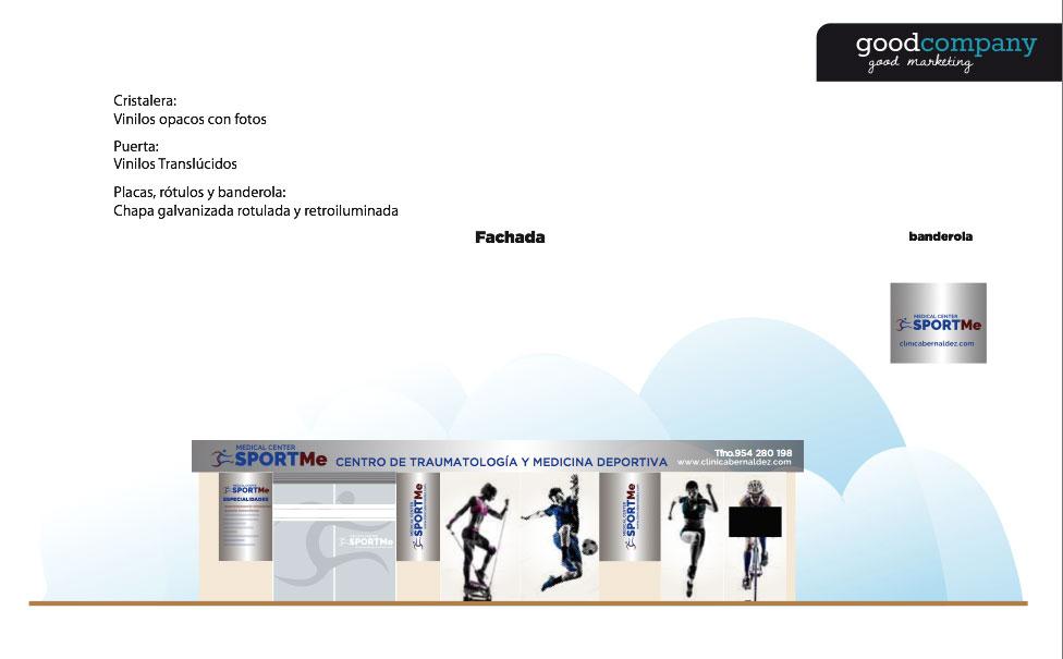 Decoración de fachada e interior de SportME - Estrategia digital