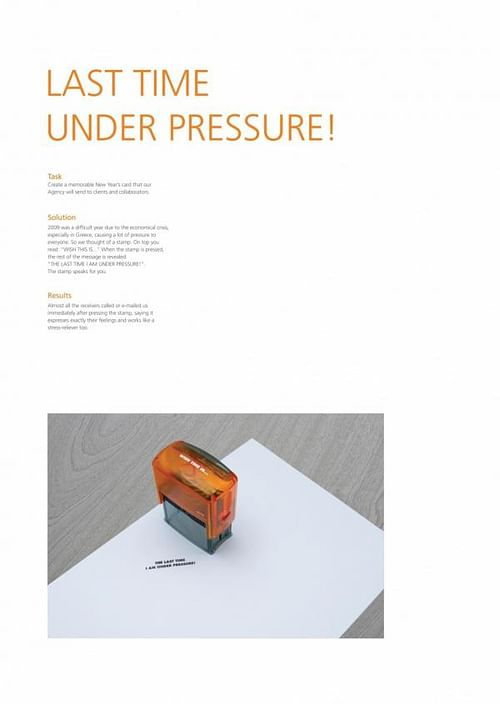 LAST TIME UNDER PRESSURE - Publicidad