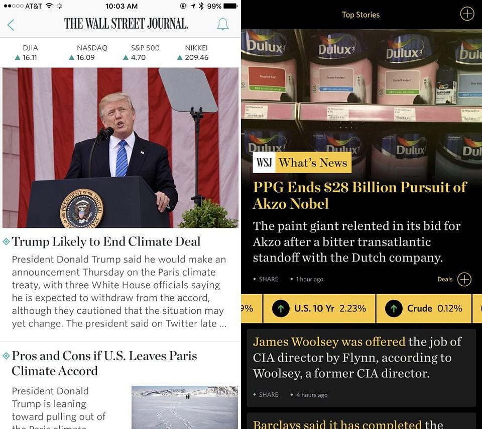 Real-time news app for Wall Street Journal