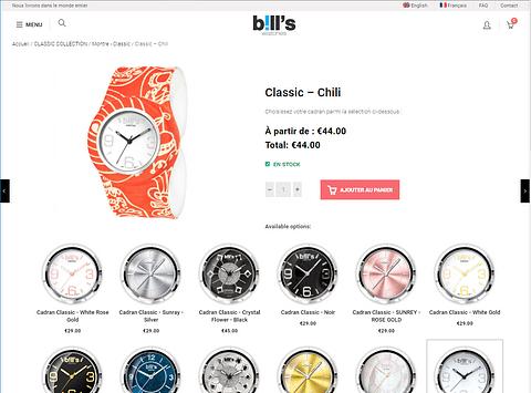 Création d'une boutique en ligne de montres