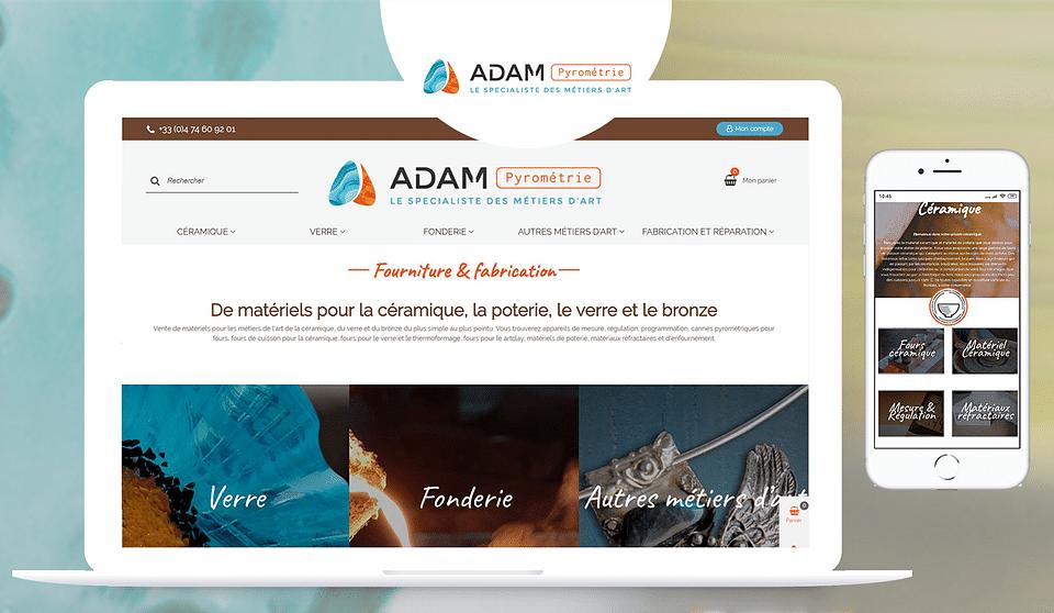 ADAM Pyrométrie - Réalisation boutique en ligne