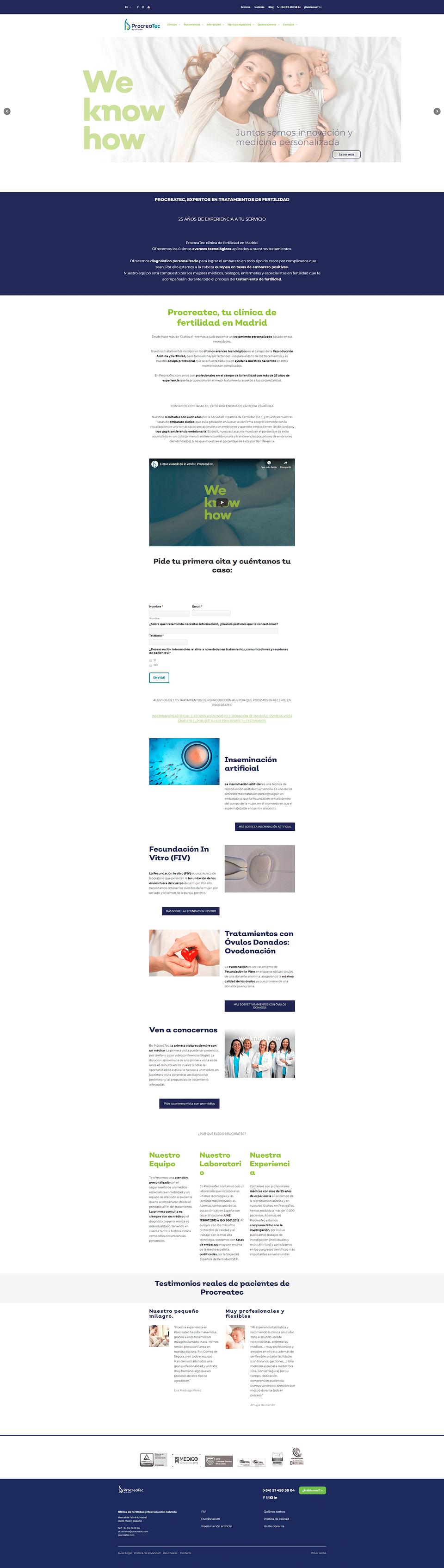 Desarrollo webs corporativas en sector salud