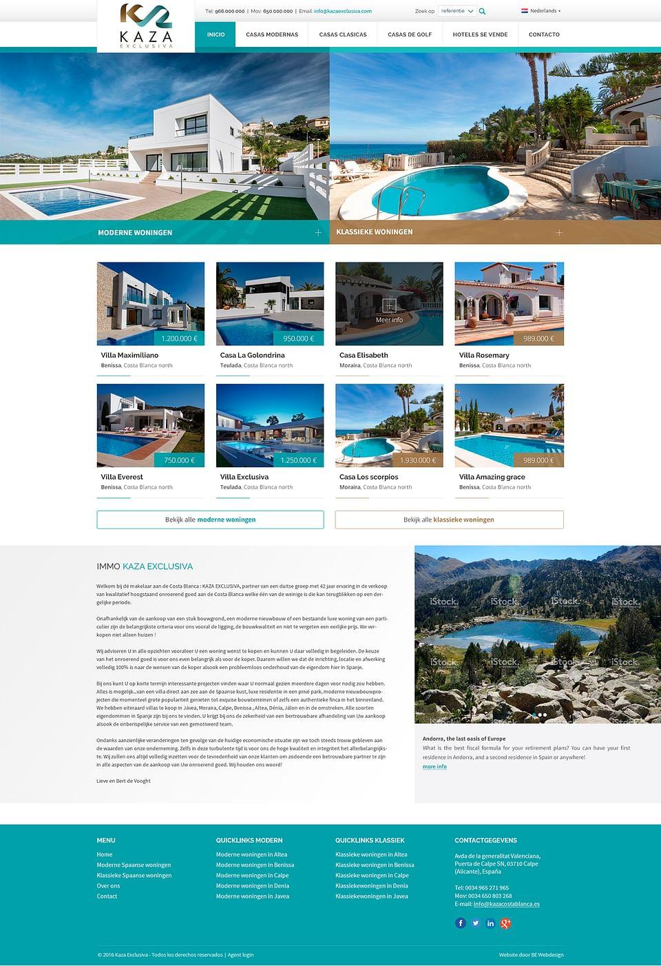 Página Web inmobiliaria para Kaza Exclusiva