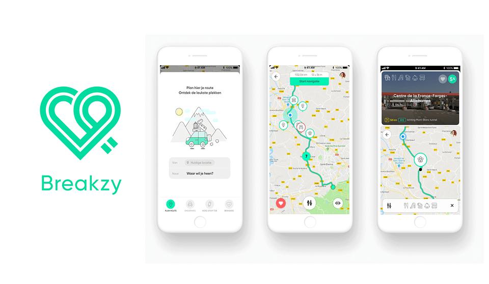 Breakzy merkidentiteit en mobile app