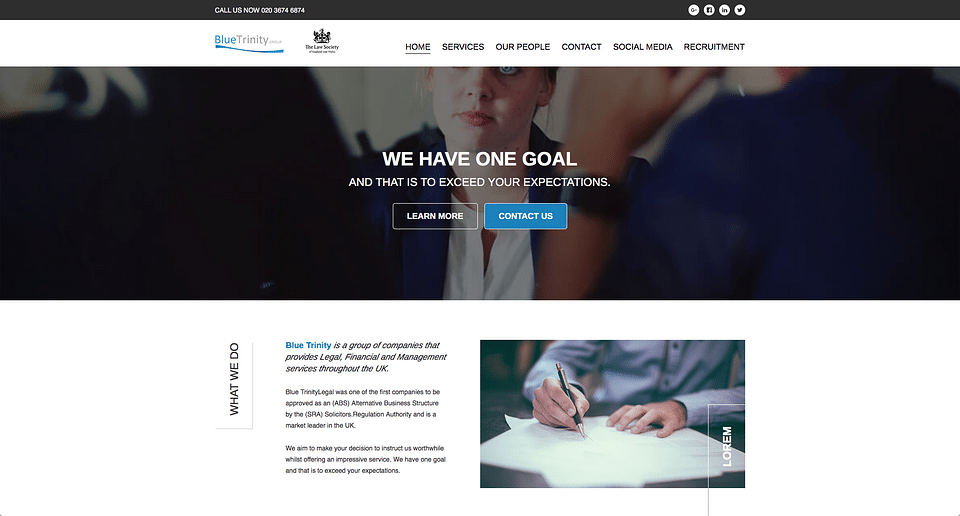 Website for a legal for a London based law firm
