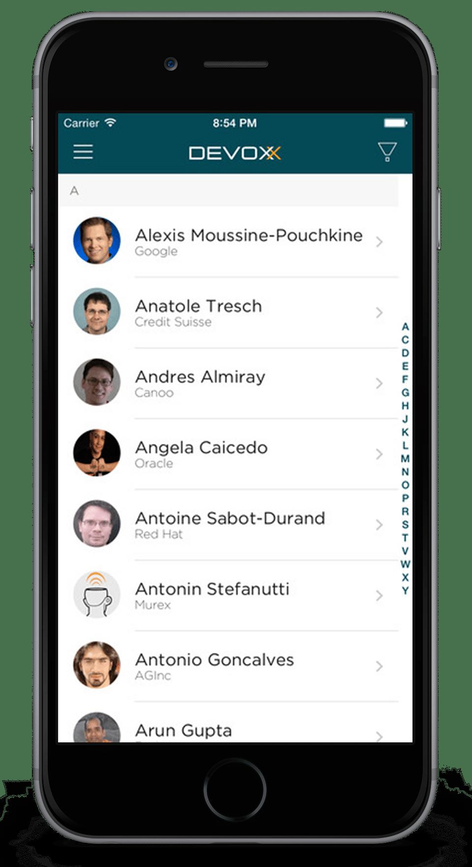 Event app for Devoxx Conference