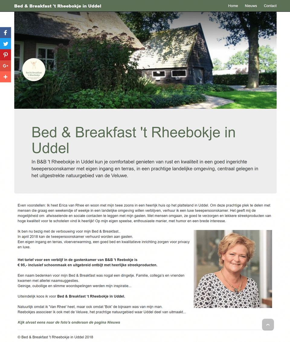 Webdesign en Social Media voor Bed & Breakfast
