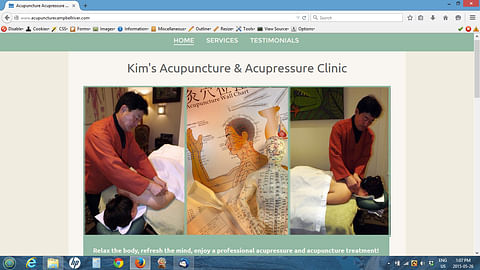 Website for an acupuncture clinic
