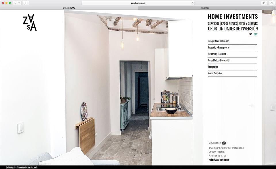 Diseño y desarrollo web Zasa Home