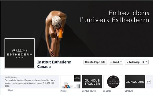 Esthederm Canada Facebook page - Social Media