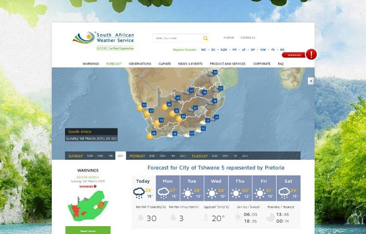 Site Internet Meteo National Afrique du Sud