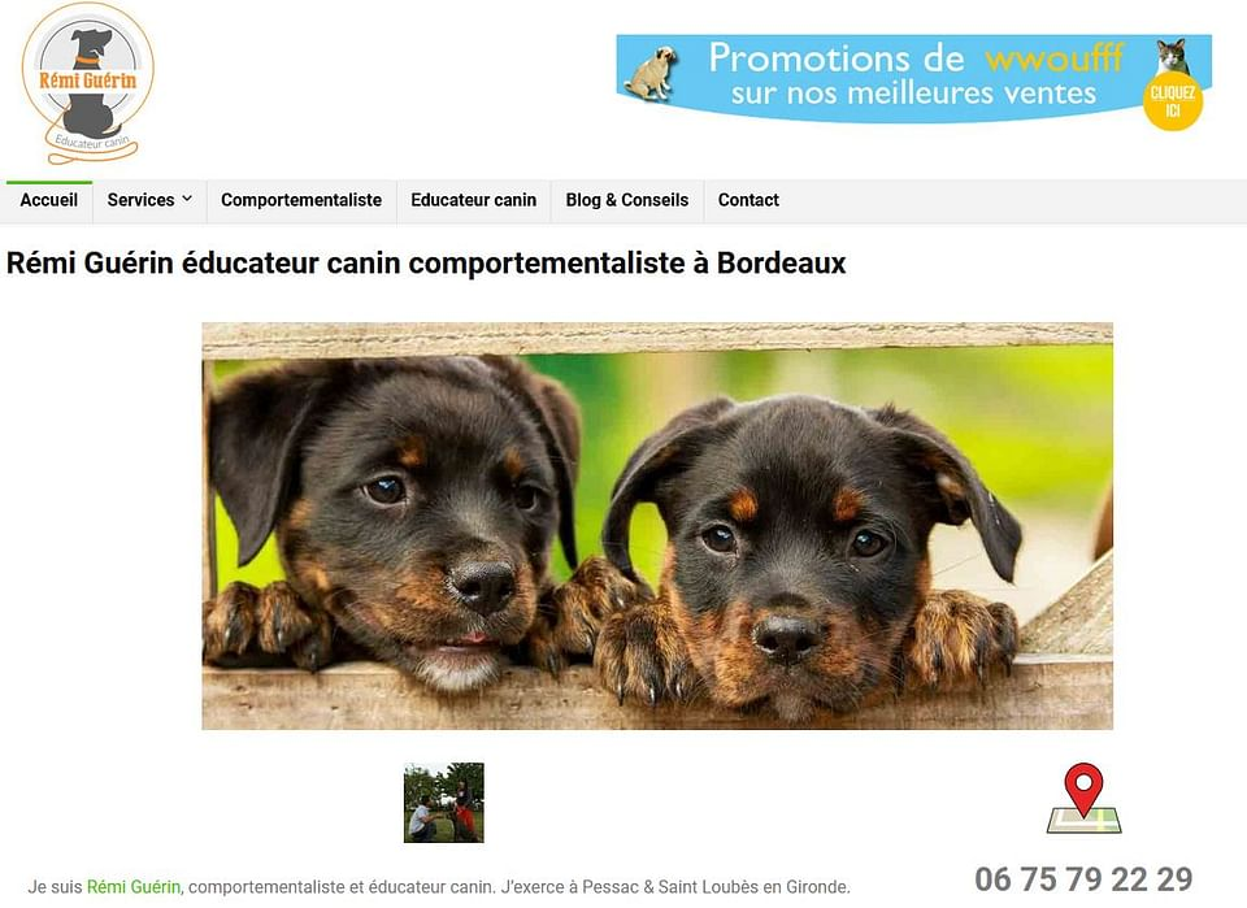 Création d'un site pour un dresseur de chien