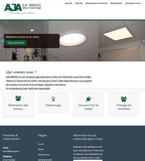 Développement web et Design Branding AJA Énergie - Création de site internet