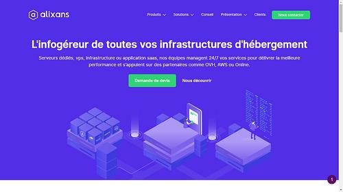 Alixans - Ecommerce de service d'hébergement web - Création de site internet