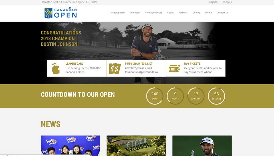 RBC Canadian Open Website Design & Development