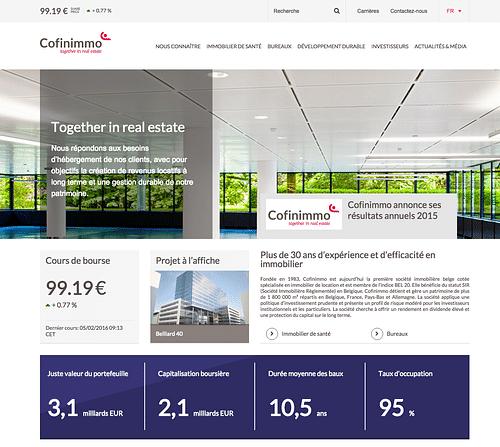 Cofinimo website - Création de site internet