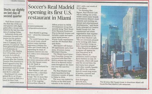 Evento Real Madrid Cafe Miami - Publicidad
