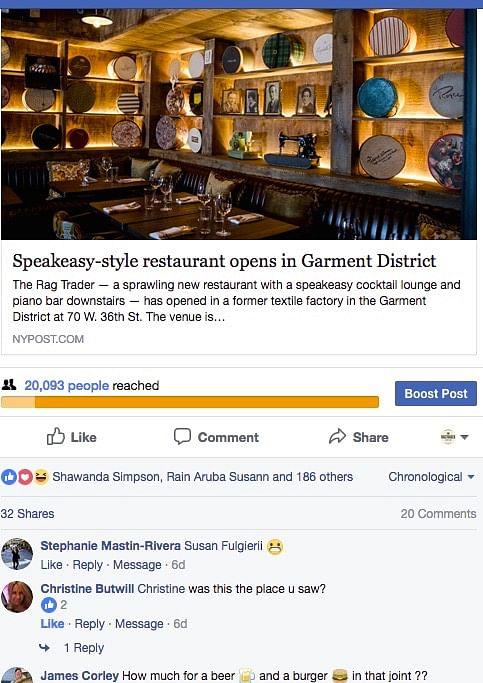 """Social Media for """"Rag Trader"""" NYC restaurant"""