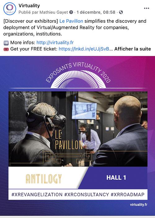 Community Management pour un salon de VR - Réseaux sociaux