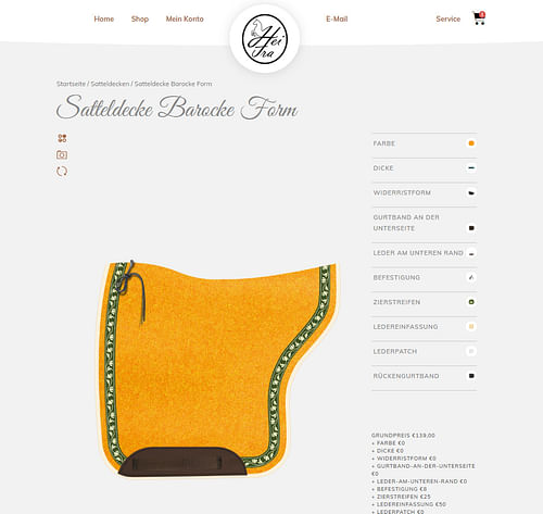 HeiFra Pferde Satteldecken Produktkonfigurator - Markenbildung & Positionierung