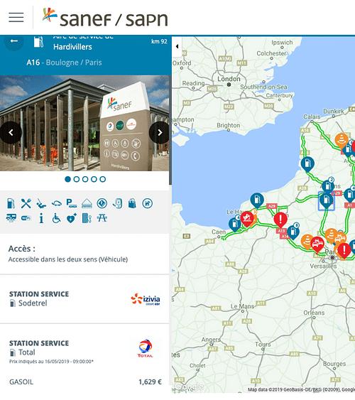 Carte intéractive SANEF - Application web