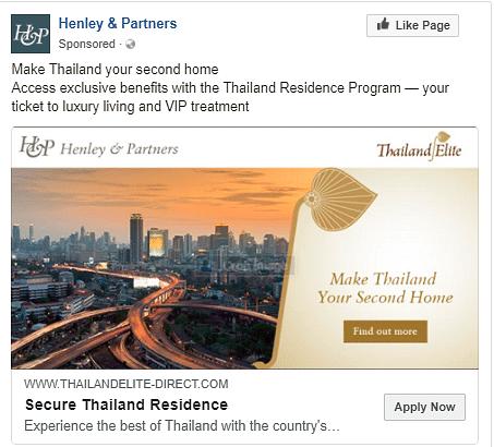 Online Advertisement for Thai Elite Residency