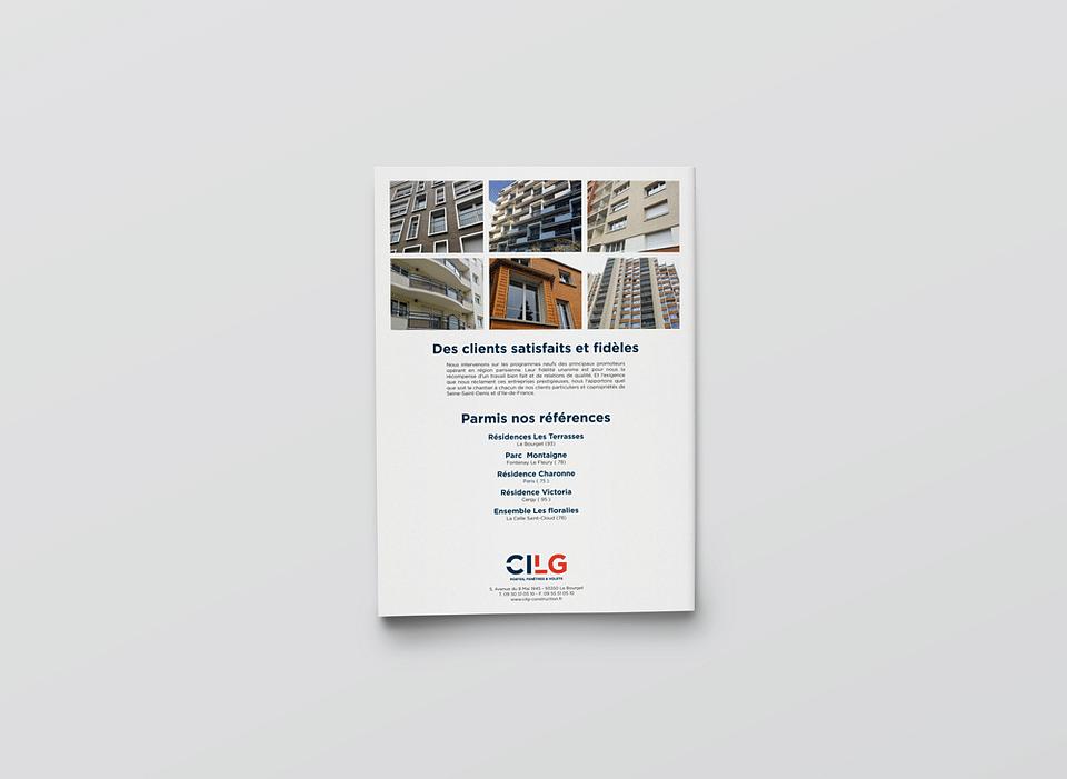 Brochure promotionnelle pour CILG Construction.