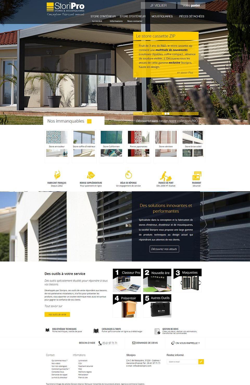 Site de vente en ligne B2B Storipro