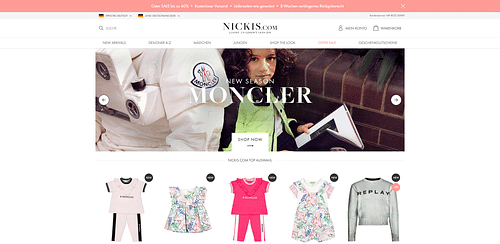 Onlineshop für NICKIS.com - Webseitengestaltung